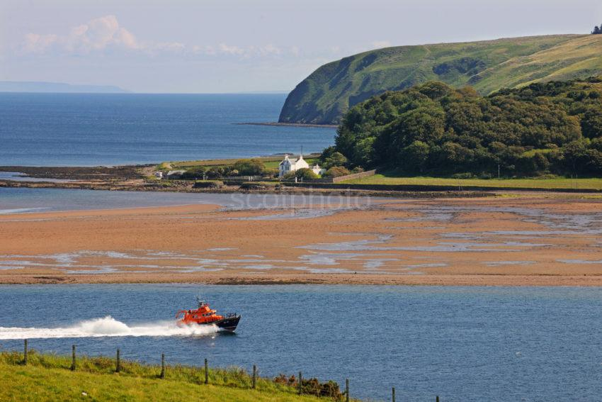Campbeltown Lifeboat Enters Campbeltown Loch With Davaar Island