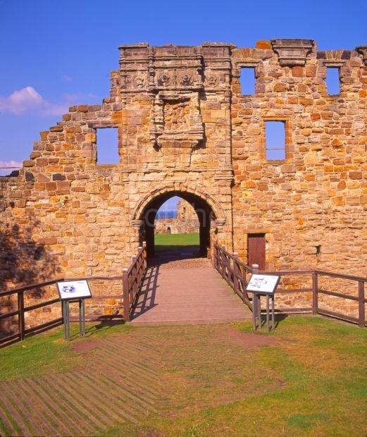 The Entrance To St Andrews Castle 1549 Situated On The Rugged Coastline Adjacent To The Town St Andrews Fife