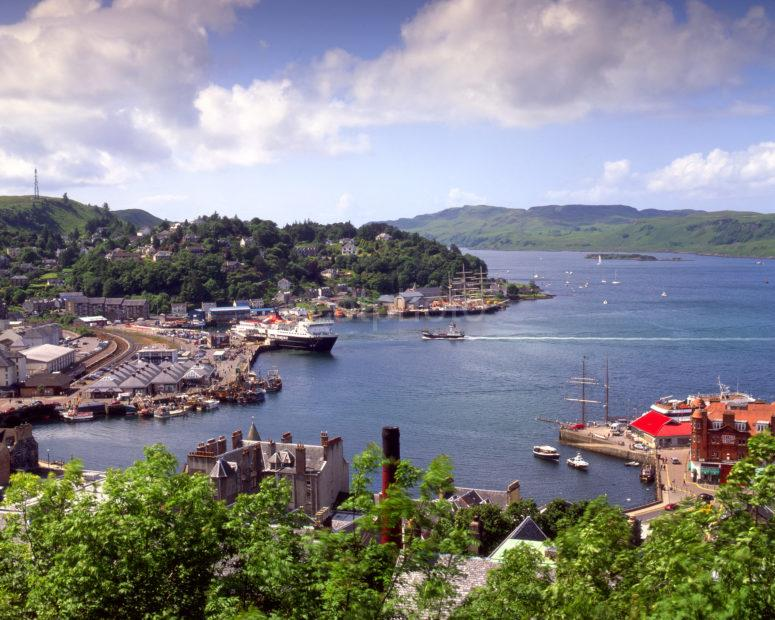 Oban Bay With Tall Ships From Maccaigs Tower