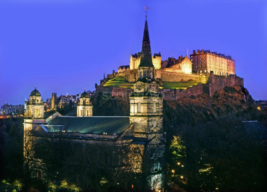 E227 Edinburgh Castle At Night From St Cuthberts Church Princes Street