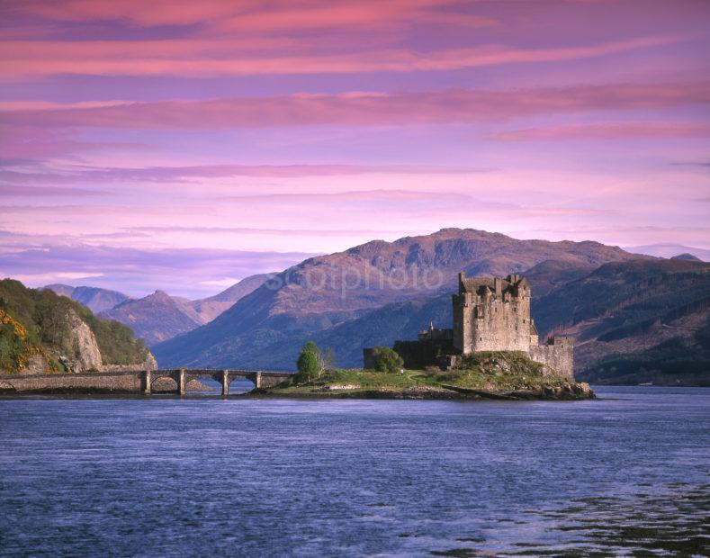 Pink Sunset Above Eilean Donan Castle On Loch Duich
