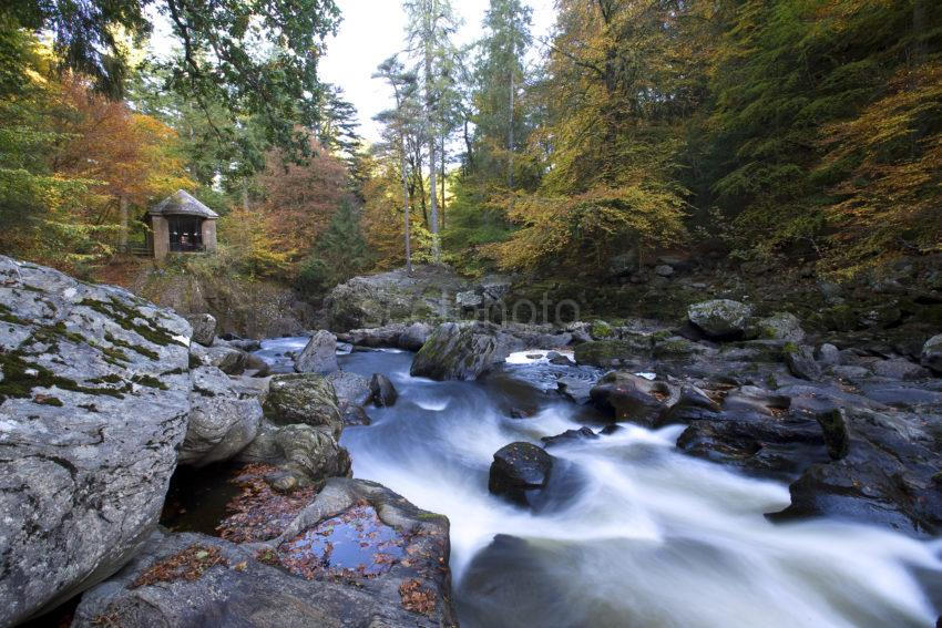 Autumn On The River Braan Towards Ossians Hall Hermitage Dunkeld Perthshire