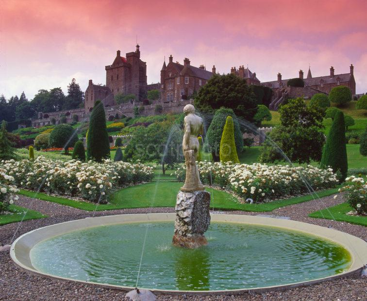 A Magnificent View Of Drummond Castle Gardens Near Crieff Perthshire Central Scotland