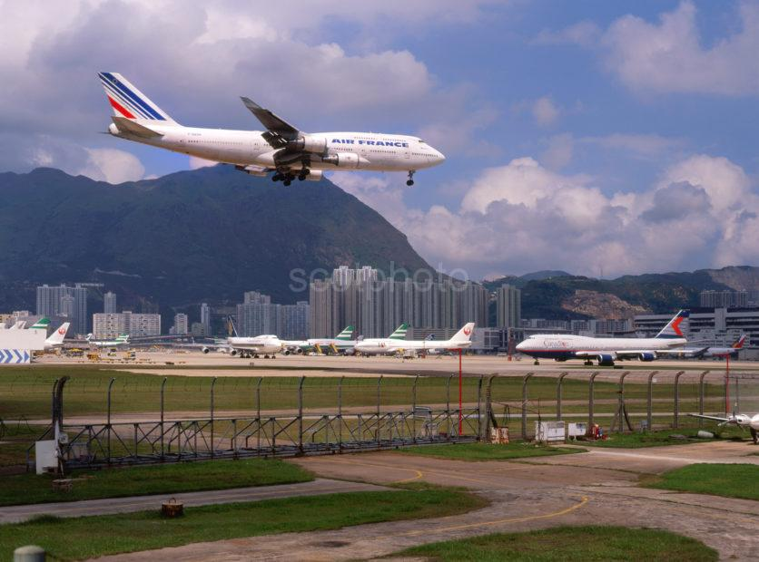 Air France Boeing 747 400 Landing At Kai Tak Hong Kong