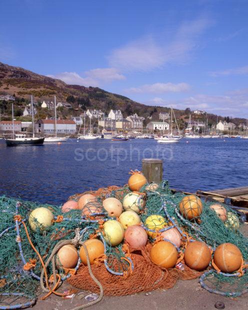 Tarbert Harbour Scene From Pier In Town Centre Loch Fyne Argyll