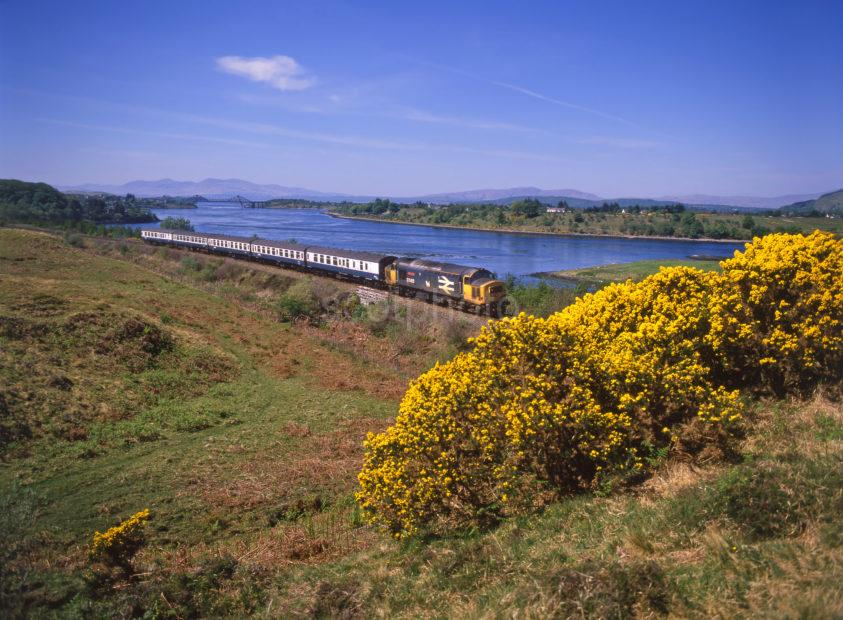 Class 37 412 Oban Glasgow Train Passes Connel And Loch Etive Argyll