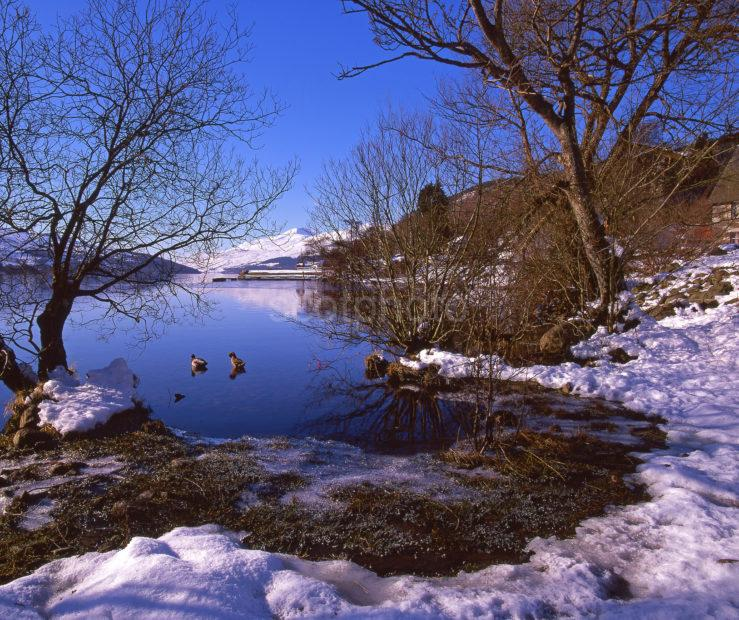 Winter Scene From The Shore Of Loch Tay As Seen From Kenmore Village Perthshire