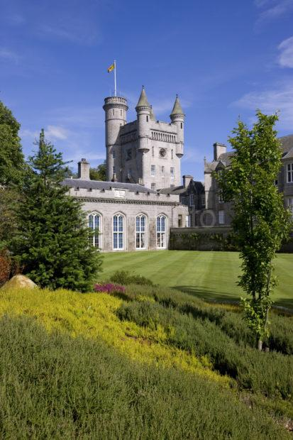 0I5D0132 Portrait Of Balmoral Castle Tower From Gardens Royal Deeside
