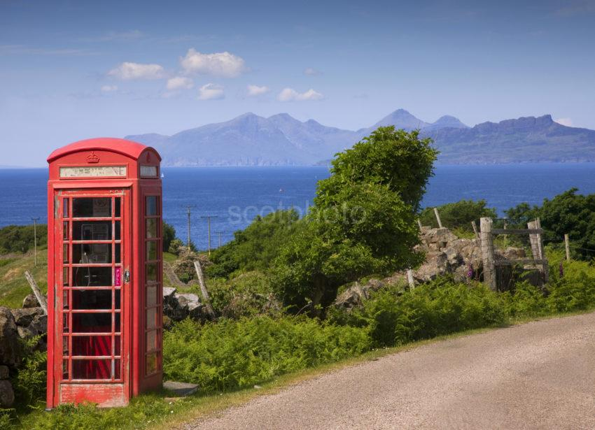 0I5D0502 Red Telephone Box And Eigg And Rum