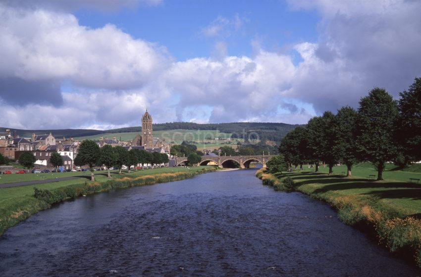 Peaceful Late Summer View Across The River Tweed Towards Peebles Scottish Borders