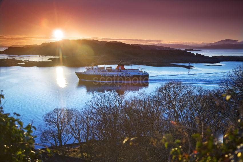 Isle Of Mull Sails Past Dunollie At Sunset