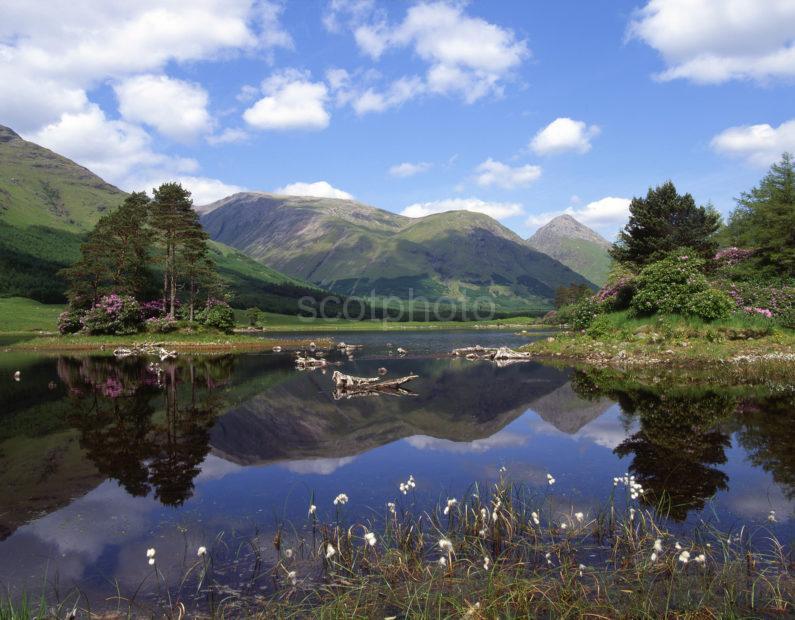 Spring Reflections In Lochan Glen Etive Amongst The Glencoe Hills Argyll