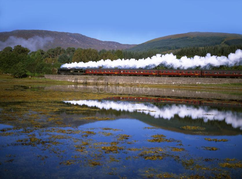 Black 5 61264 Passes Loch Eil On Route To Mallaig