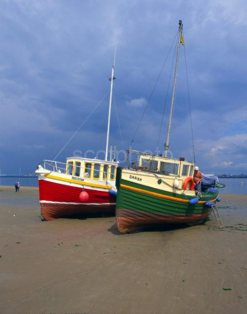 Fishing Boats Beached At Low Tide River Mersey NrNew Brighton