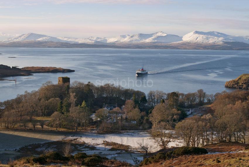 Dunollie Castle Winter From Battleship Hill Medium