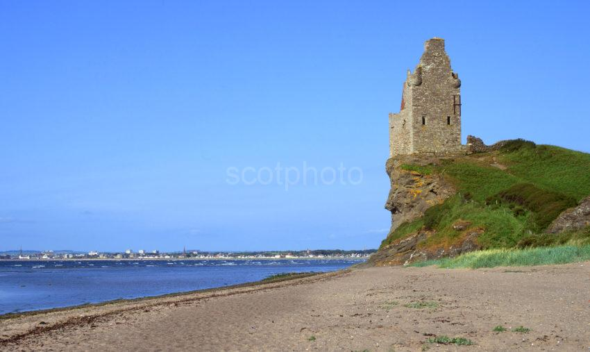 Ruins Of Greenan Castle On Cliffs South Of Ayr