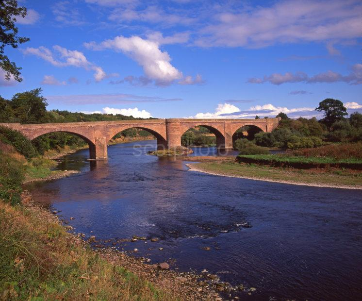 Sandstone Bridge Across The River Tweed Near LadyKirk Berwickshire Scottish Borders