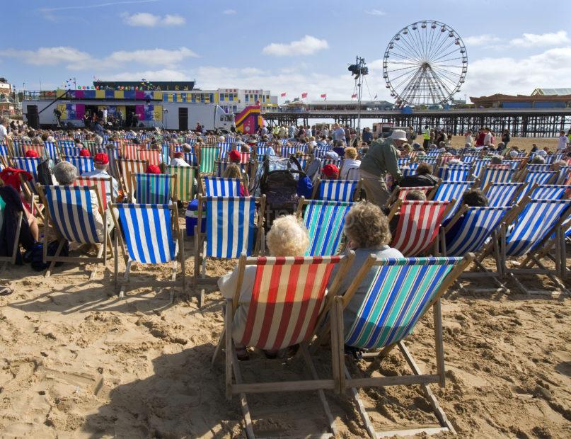 Deck Chairs On British Beach