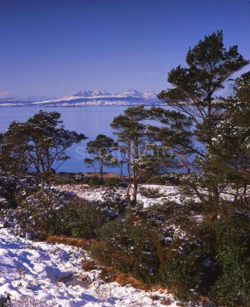 Winter View Towards Eigg And Rum From Lochailort West Highlands