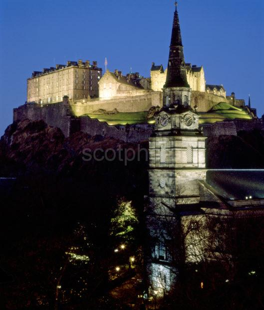 Floodlit Edinburgh Castle From St Cuthberts Church Prices Street Edinburgh
