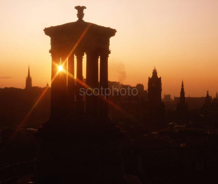 Sunset Over Edinburgh From Calton Hill