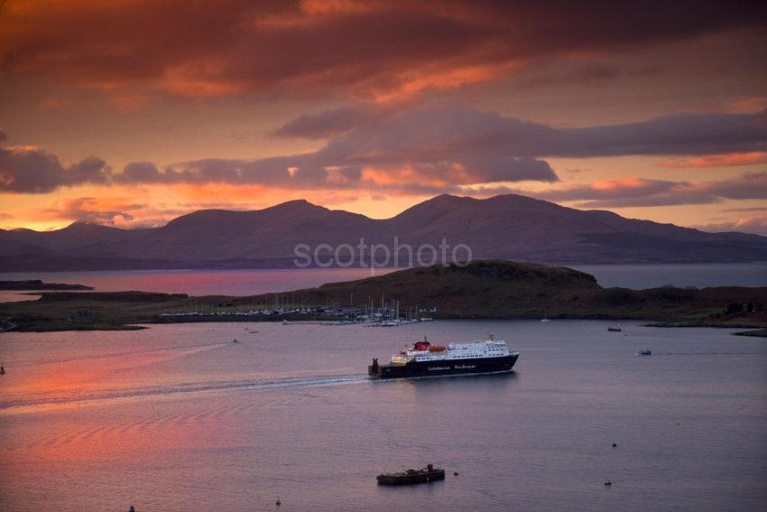 Clansman Departs Oban Bay At Sunset With The Hills Of Mull Argyll MEDIUM