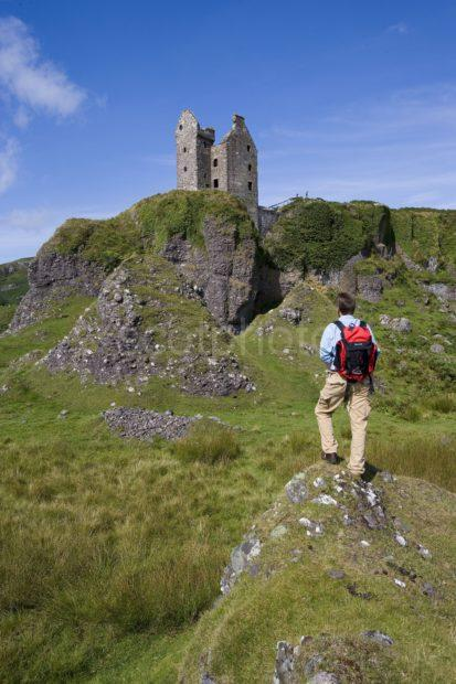 WY3Q5295 Hiker At Gylen Castle Kerrera