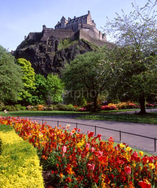 Edinburgh Castle From The Princes Street Gardens Edinburgh
