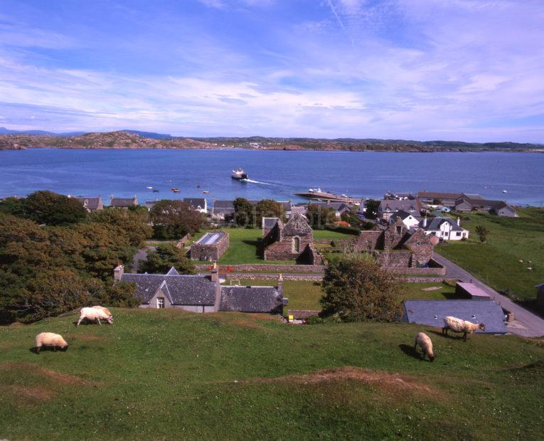 View From Iona Across Sound Towards Fionnphort Mull With Ferry