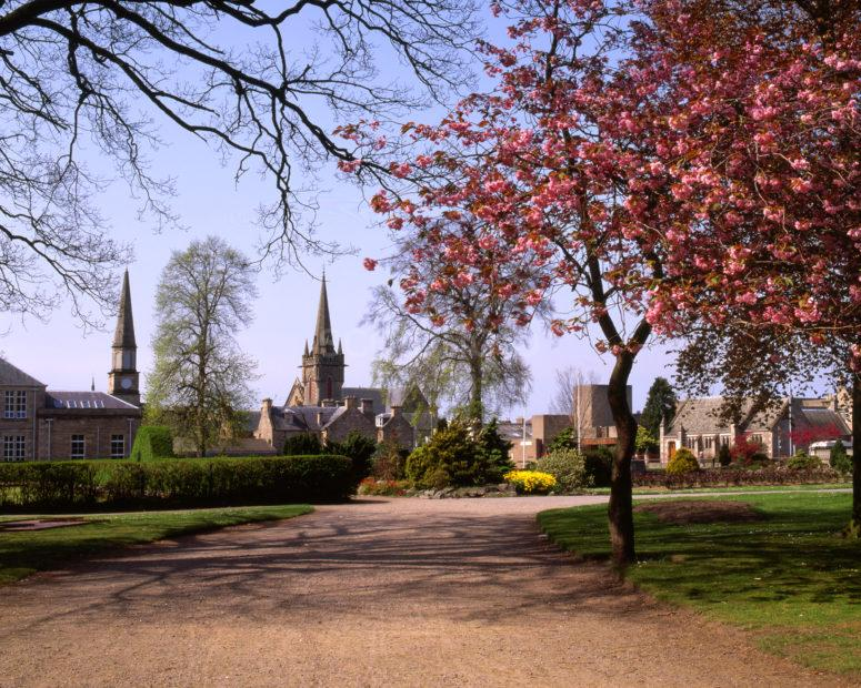 Springtime In Forres Towards Town From Park Forres Morayshire
