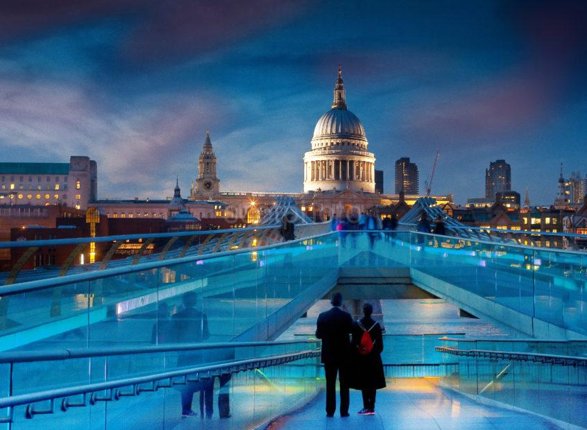 View Towards St Pauls From The Millennium Bridge At Night