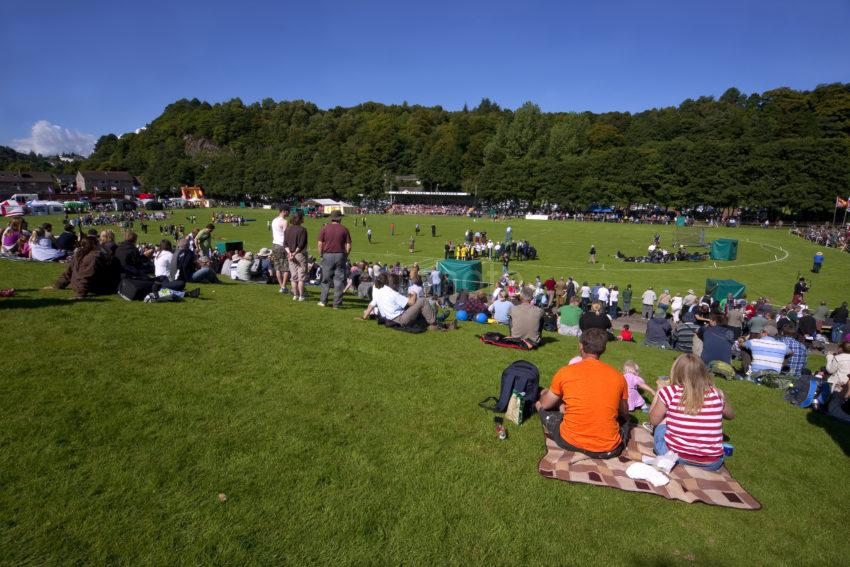 The Highland Games Field And Spectators
