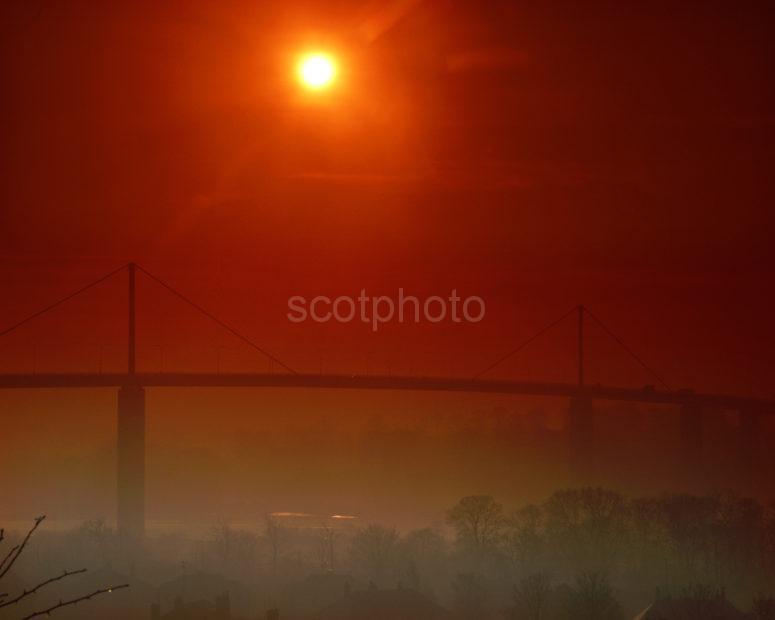 Sunset Over Erskine Bridge River Clyde Glasgow
