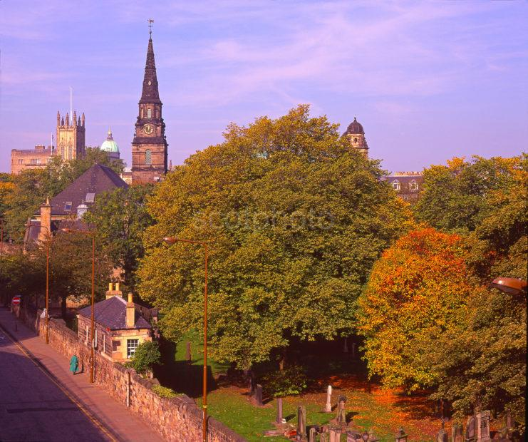 Unusual View In Autumn Looking Towards Saint Cuthberts Church From Castle Terrace Edinburgh City Centre