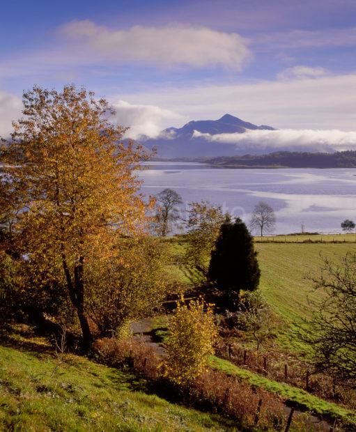 Misty Autumn Scene Of Loch Etive To Ben Cruachan North Connel Argyll