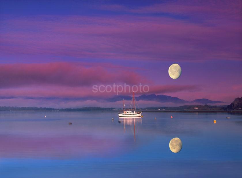 Sunset Moonrise Connel Yacht