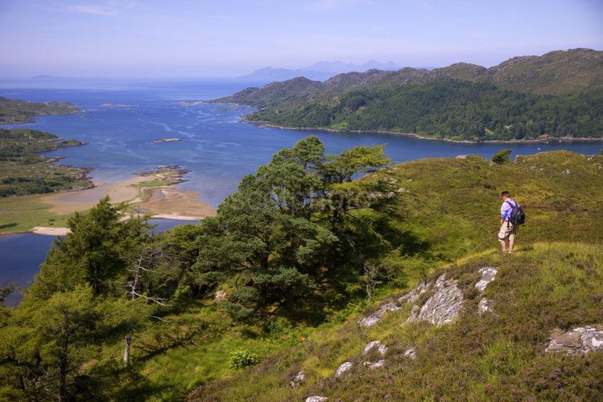 Hiker Above Loch Moidart With Rhum And Eigg Original