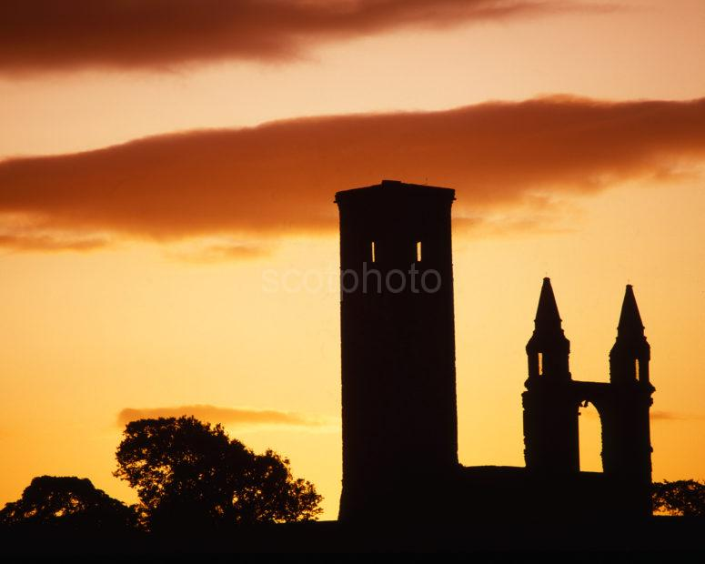 Silhouette Of St Rules Tower And East Gable St Andrews Cathedral Fife