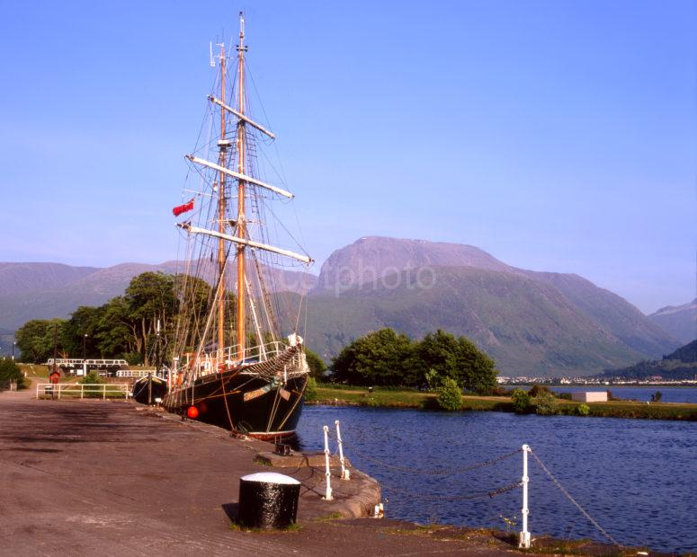 Tall Ship In Corpach Basin With Ben Nevis Caledonian Canal Lochaber