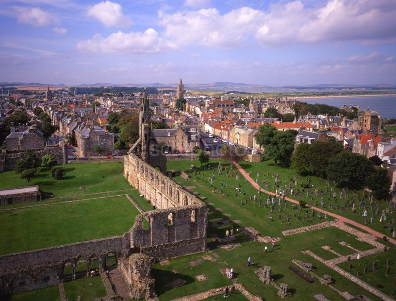 View Of St Andrews From St Rules Tower Cathedral Ruins East Neuk Fife
