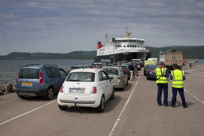 Cars Waiting To Embark Onto Finlaggan At Kennicraig