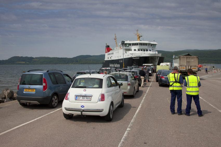 Cars Waiting To Embark Onto Finlaggan At Kennicraig