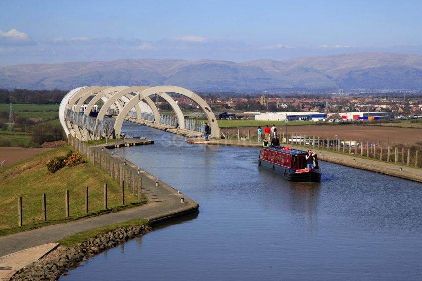 Narrowboat Enters The Falkirk Wheel From The Upper Union Canal