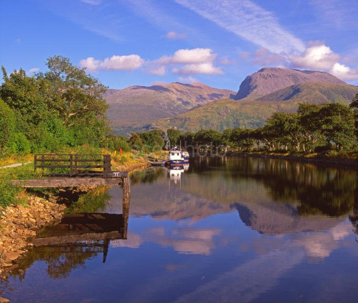 Peaceful Reflections On The Caledonian Canal With Ben Nevis In View Lochaber