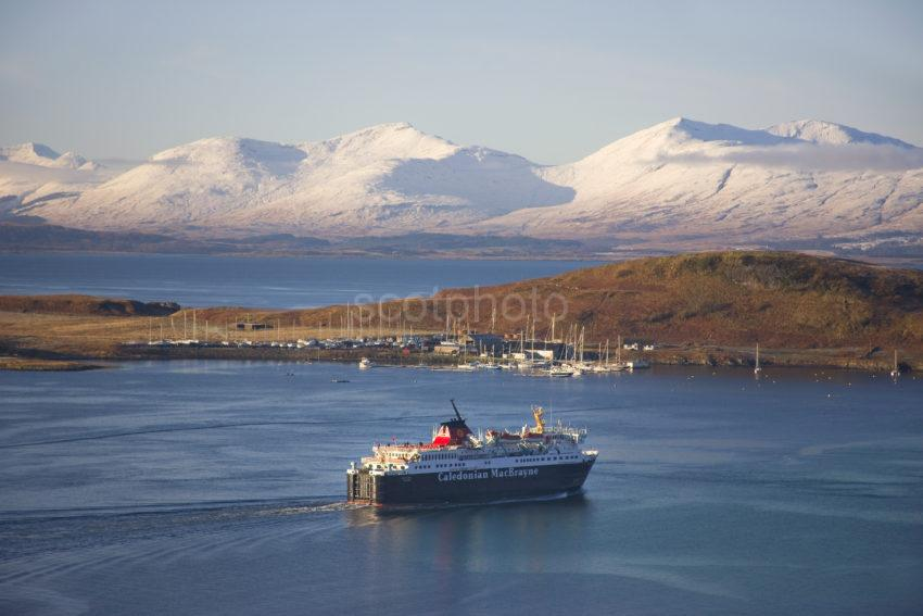 MV Isle Of Mull Departs Oban In Winter
