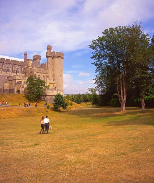 Summer View Of Arundel Castle As Seen From The Extensive Grounds A Norman Keep Rebuilt In 18th Century Owned By Duke Of Norfolk Arundel West Sussex
