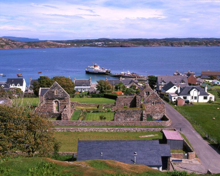 View From Island Of Iona Nunnery Towards Pier And Mull