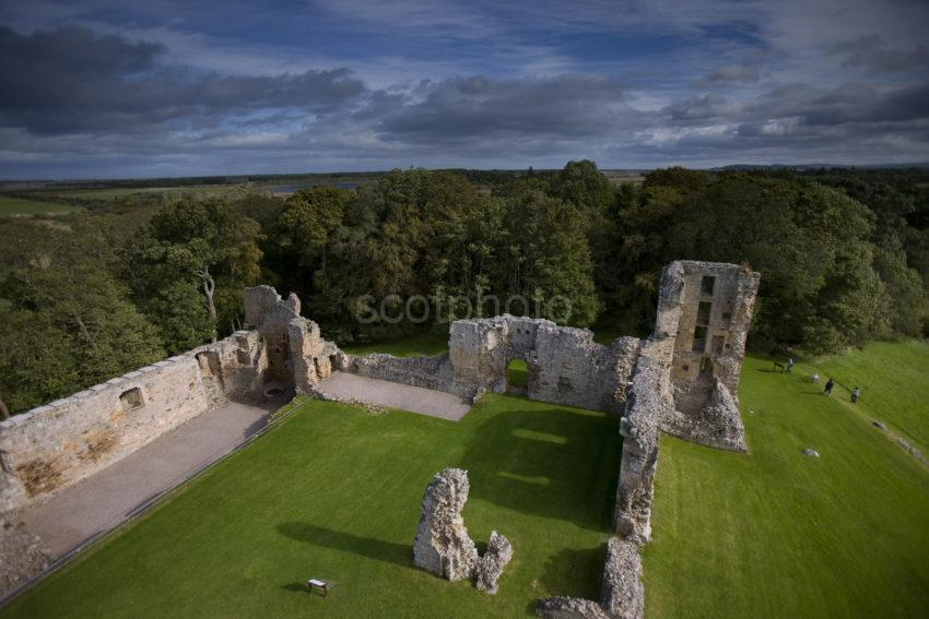 Ruins Of Spynie Palace From Davids Tower Morayshire