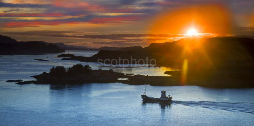 Stunning Sunset Across Kerrera With Lismore Ferry In View Oban 2