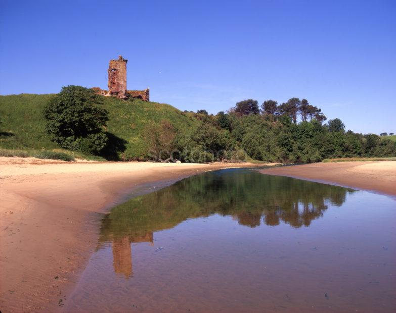 Ruins Of Redcastle From Lunan Water On Beautiful Lunan Bay Angus